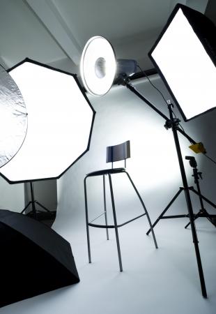 Foto studio setup met verlichting apparatuur Stockfoto - 12462865
