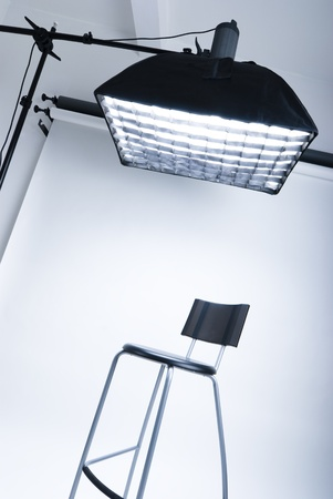 halogen lighting: Photo studio setup with lighting equipment