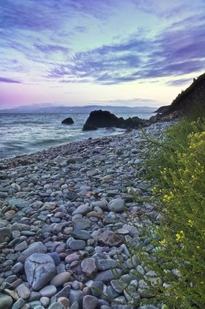 Stones and coastline at Howth Peninsula, Dublin, Ireland