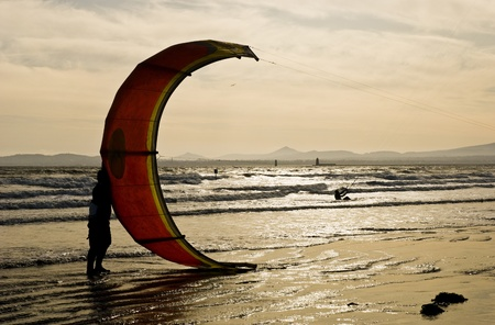 Kite surfer holding his kite at the seaside