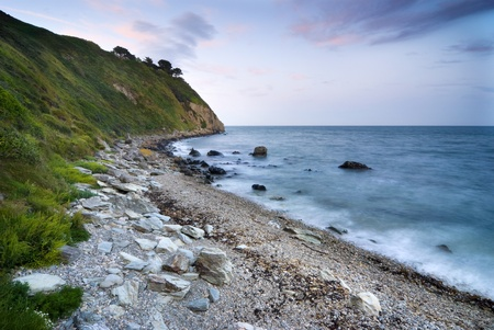 Rocky coastline at Irish Sea, Howth Peninsula, Ireland photo