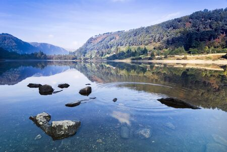 Mountain Upper Lake in Glendalough Scenic Park, Republic of Ireland