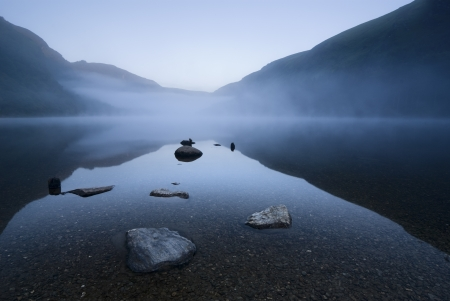 ireland: Twilight at Upper Lake in Glendalough Scenic Park, Ireland