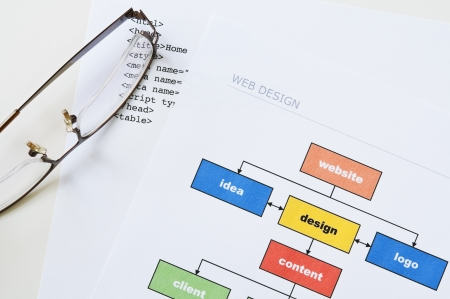 Web design project planning with diagram, html and glasses