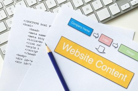 Web design project planning with diagram, HTML, pencil and keyboard