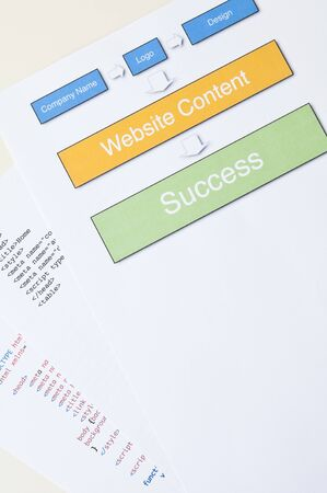 Website success concept with diagram, html and copy space Stock Photo - 14368534