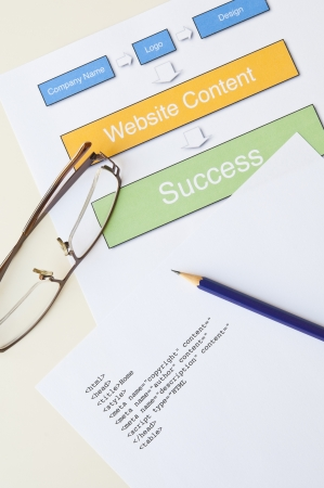 Internet success concept with diagram, html, pencil and glasses Stock Photo - 14368538