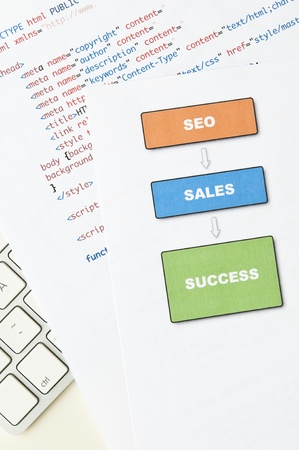Search engine optimization planning with diagram, html and computer keyboard Stock Photo - 14368549