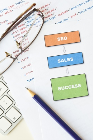Search engine optimization planning with diagram, html, computer keyboard, glasses and pencil Stock Photo - 14368567