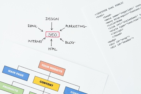 Search engine optimization planning with writing, diagram and html Stock Photo - 14368510