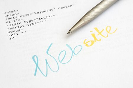 Website design concept with HTML script and ballpoint pen Stock Photo - 15932098