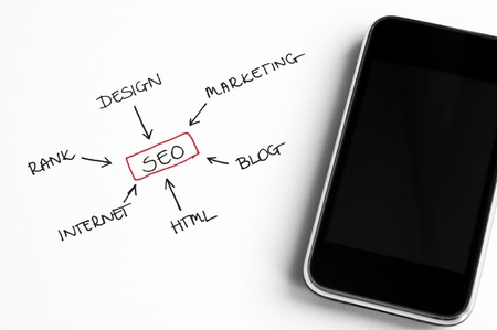 SEO concept chart written on white paper arranged with smart phone