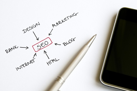 SEO concept chart written on white paper arranged with smart phone and ballpoint pen Stock Photo - 16257068
