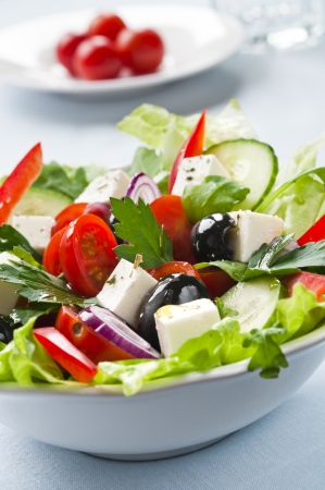 Greek salad with feta, cherry tomatoes and black olives