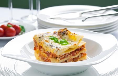 Portie lasagne met vlees bedekt met parmezaanse kaas Stockfoto - 16888109