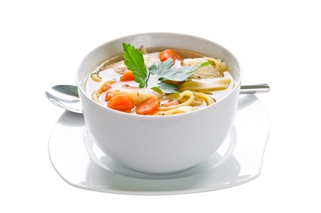 chicken noodle: Bowl of chicken soup with vegetables and noodles - saved with clipping path