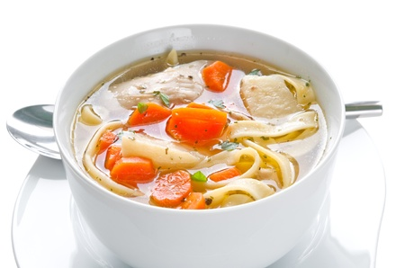 eating noodles: Bowl of chicken soup with vegetables and noodles - saved with clipping path