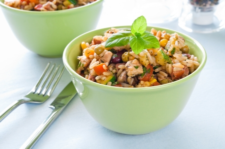 Risotto with chicken and vegetables in a bowl