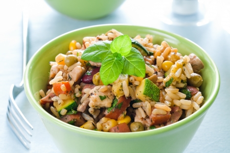 Risotto with chicken and vegetables in a bowl Stock Photo - 18371429