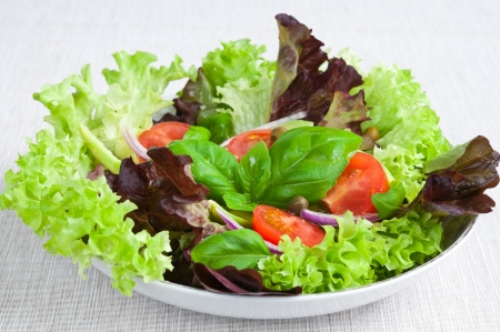Plate of fresh salad with lettuce, tomato and basil