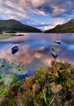 irish countryside: Boats on water in Killarney National Park, Republic of Ireland, Europe Stock Photo