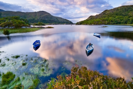 Boats on water in Killarney National Park, Republic of Ireland, Europe 写真素材