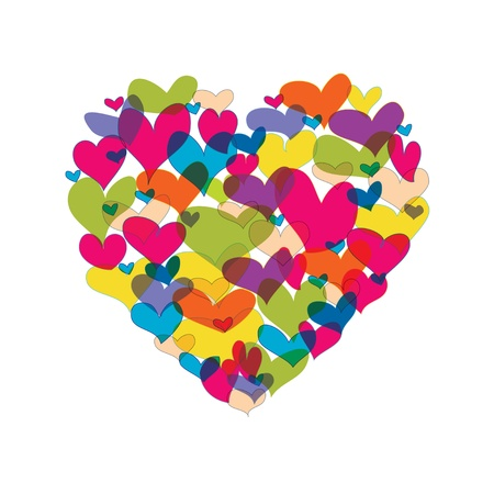 yellow heart: Vector illustration. Heart shape from many colorful hearts on white background
