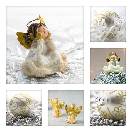 Kerst collage concept met engelen en kerstballen Stockfoto