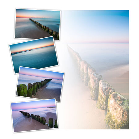 breakwaters: Postcard collage design with four images of breakwaters at Baltic Sea shoreline