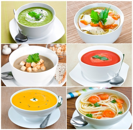 Collage of six images with selection of vegetable soups photo