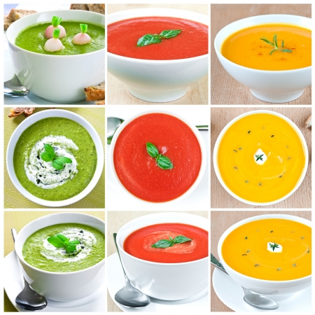 Collage van negen foto's met de selectie van plantaardige soepen