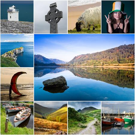 Collage van de meest karakteristieke thema's uit Ierland