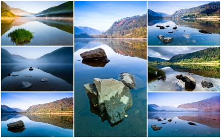Collage of seven images showing different views on Upper Lake in Glendalough, Republic of Ireland photo