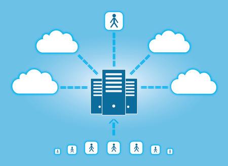 Vector illustratie - cloud computing en connectiviteit begrip