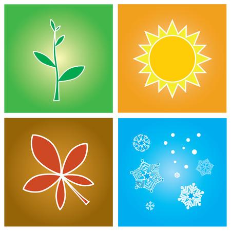 Vector illustratie - eenvoudige symbolen van vier seizoen begrip