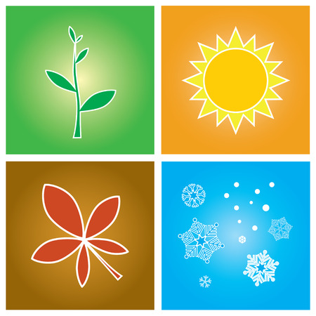 Vector illustration - simple symbols of four season concept