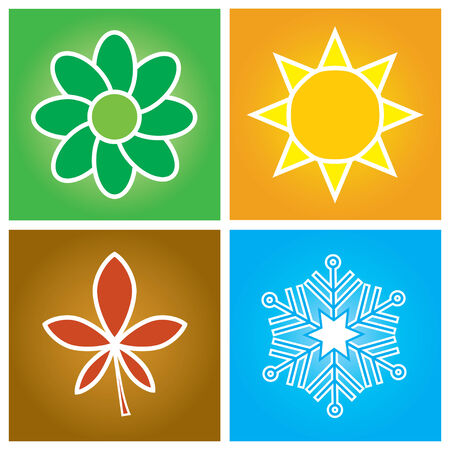 four season: Vector illustration - simple symbols of four season concept