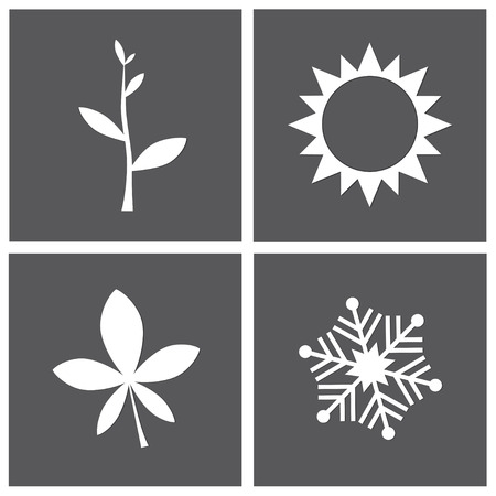 four season: Vector illustration - four season concept with icons on grey background