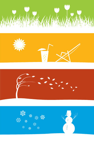 four season: four season concept with copyspace Illustration