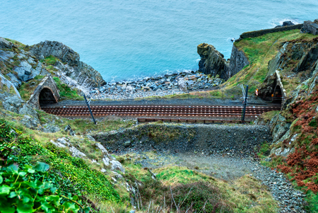 railtrack: Railtrack entering tunnels on the scenic route from Bray to Greystones, Republic of Ireland