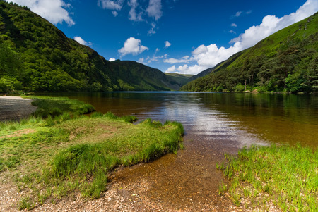 republic of ireland: Upper Lake in Glendalough Scenic Park, County Wicklow, Republic of Ireland Stock Photo