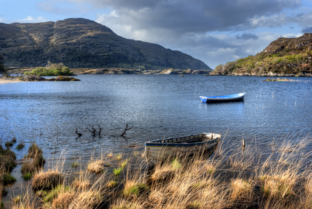 Boats on lake in Killarney National Park, Republic of Ireland, Europe