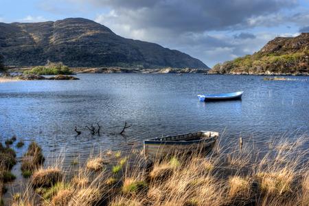 Boten op meer in het Nationale Park van Killarney, Republiek Ierland, Europa Stockfoto