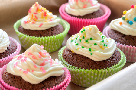 cupcakes: Fancy chocolate cupcakes with vanilla cream and colorful toppings and decoration