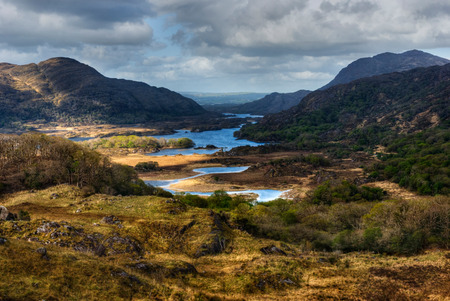 ring up: Distant view over lakes and mountains in Ring of Kerry, Ireland
