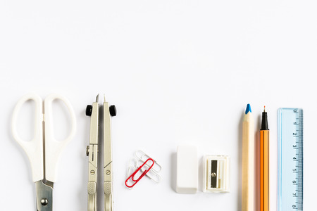 fineliner: Set of school stationery on white background from above Stock Photo
