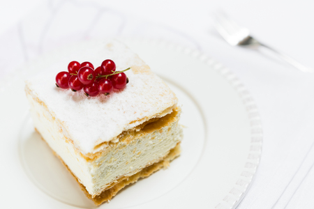 cream pie: Close up of Polish cream pie topped with redcurrant on white plate