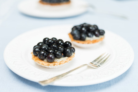 blueberry pie: Close up of fresh blueberry pie tart on white plate and blue table Stock Photo