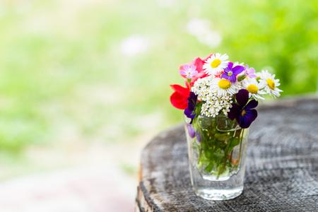 Close-up van kleurrijke tuinbloemen in een glas op oude houten boomboomstam met exemplaar-ruimte. Selectieve aandacht