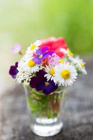 Close-up van kleurrijke tuinbloemen in een glas op oude houten boomboomstam. Selectieve aandacht Stockfoto